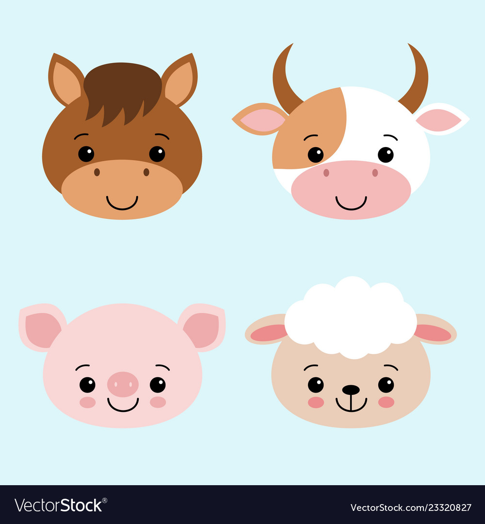 Cute farm animals collection set with cow horse