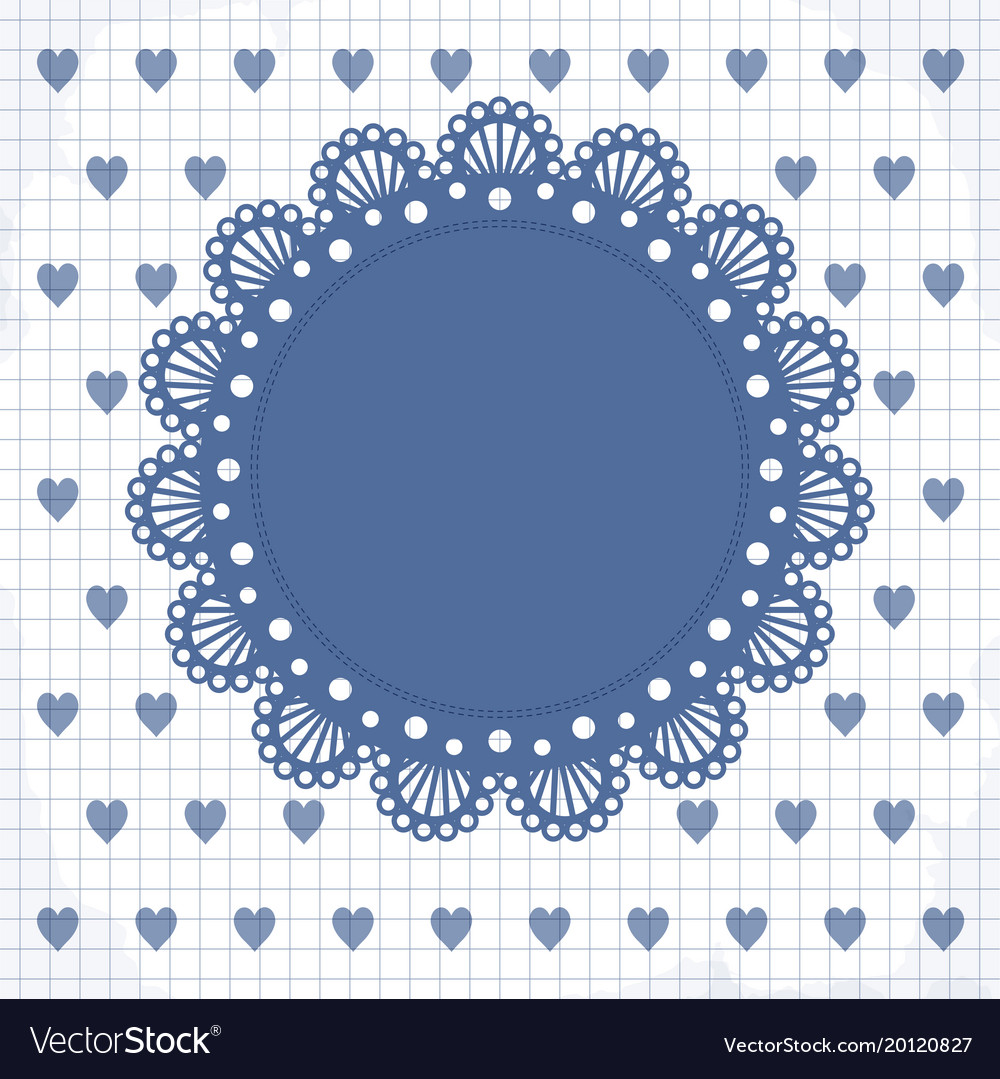Cute frame with hearts and lacy napkin
