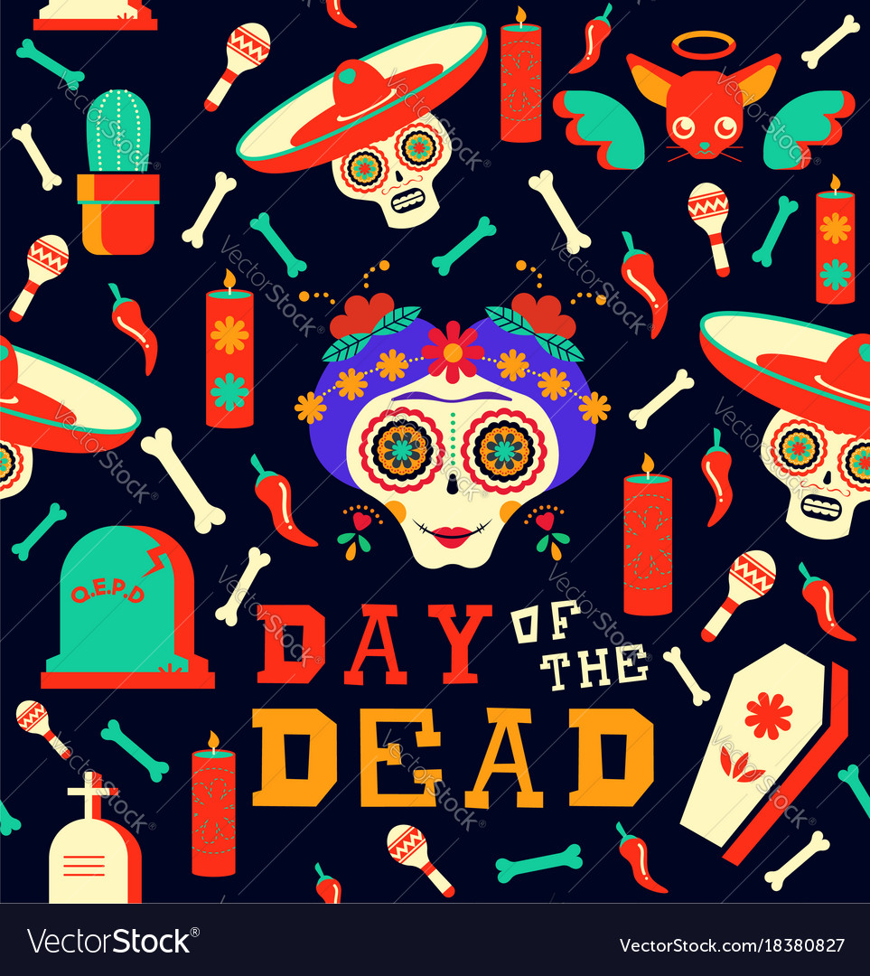 Day of the dead happy sugar skull seamless pattern
