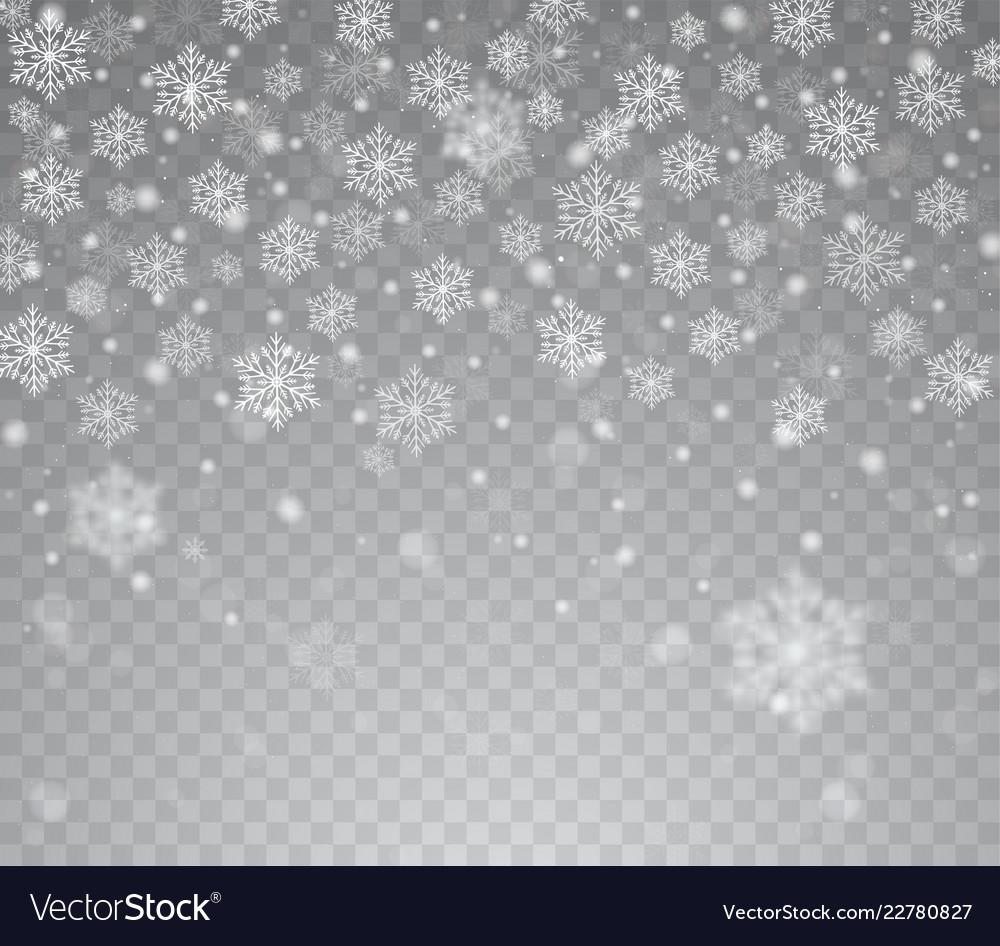 Falling shining transparent snow
