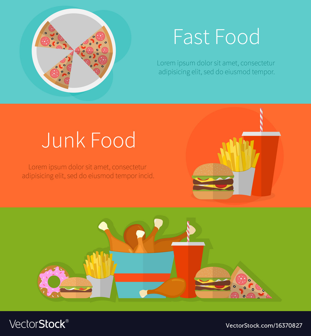 Fast food banner design flat icons of junk food