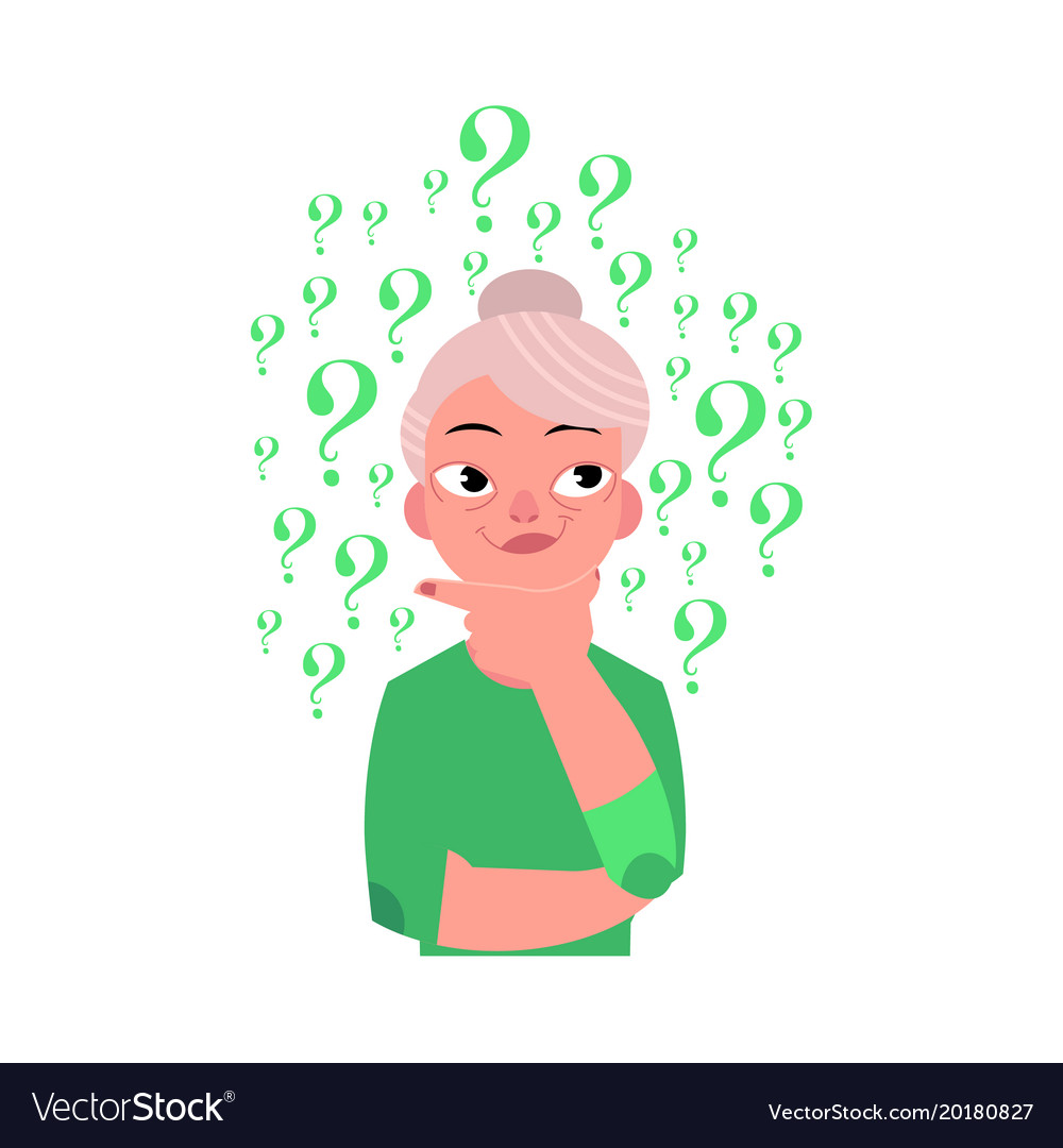 Thinking elderly. Flat old woman portrait