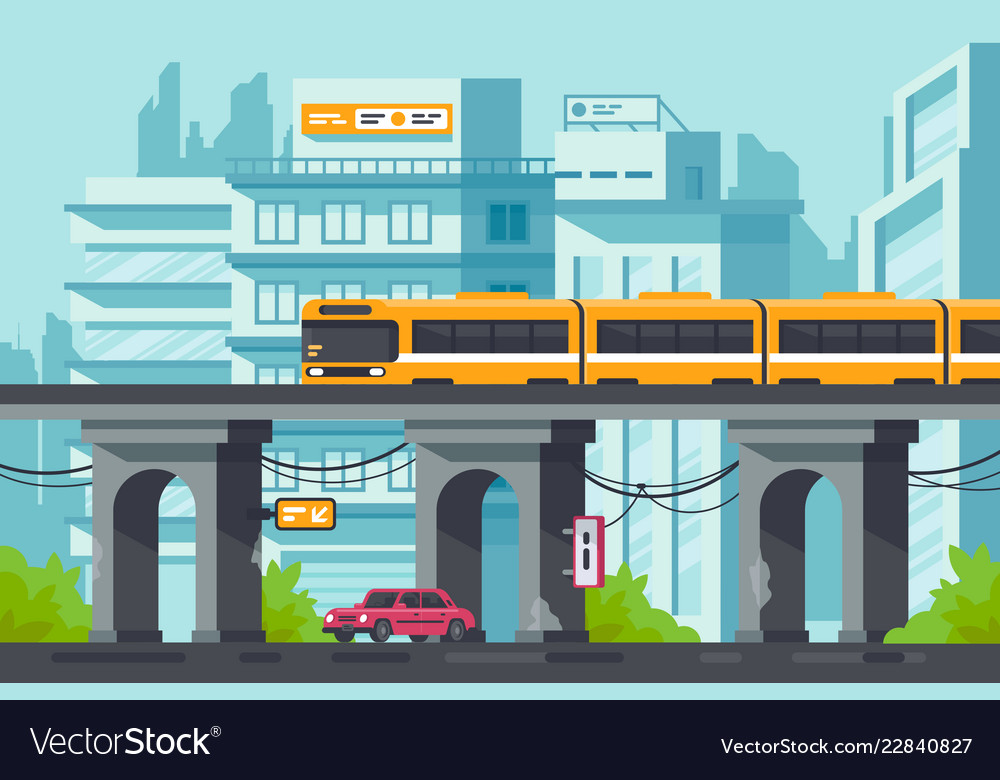 Flat street with road and car under elevated metro