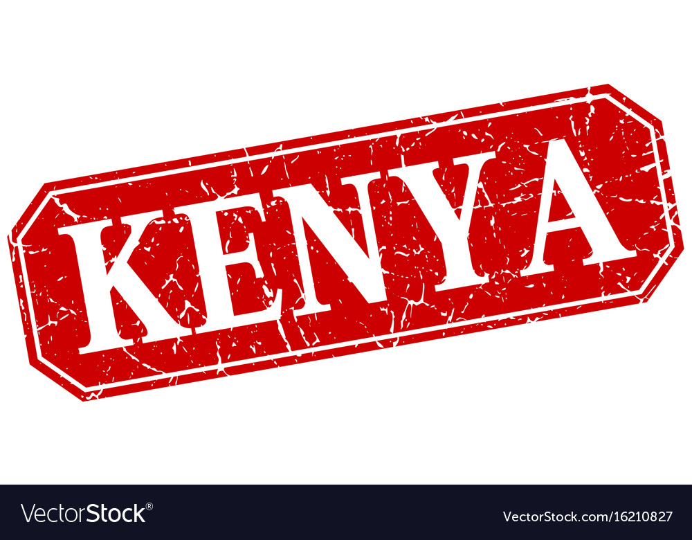 Kenya red square grunge retro style sign vector image