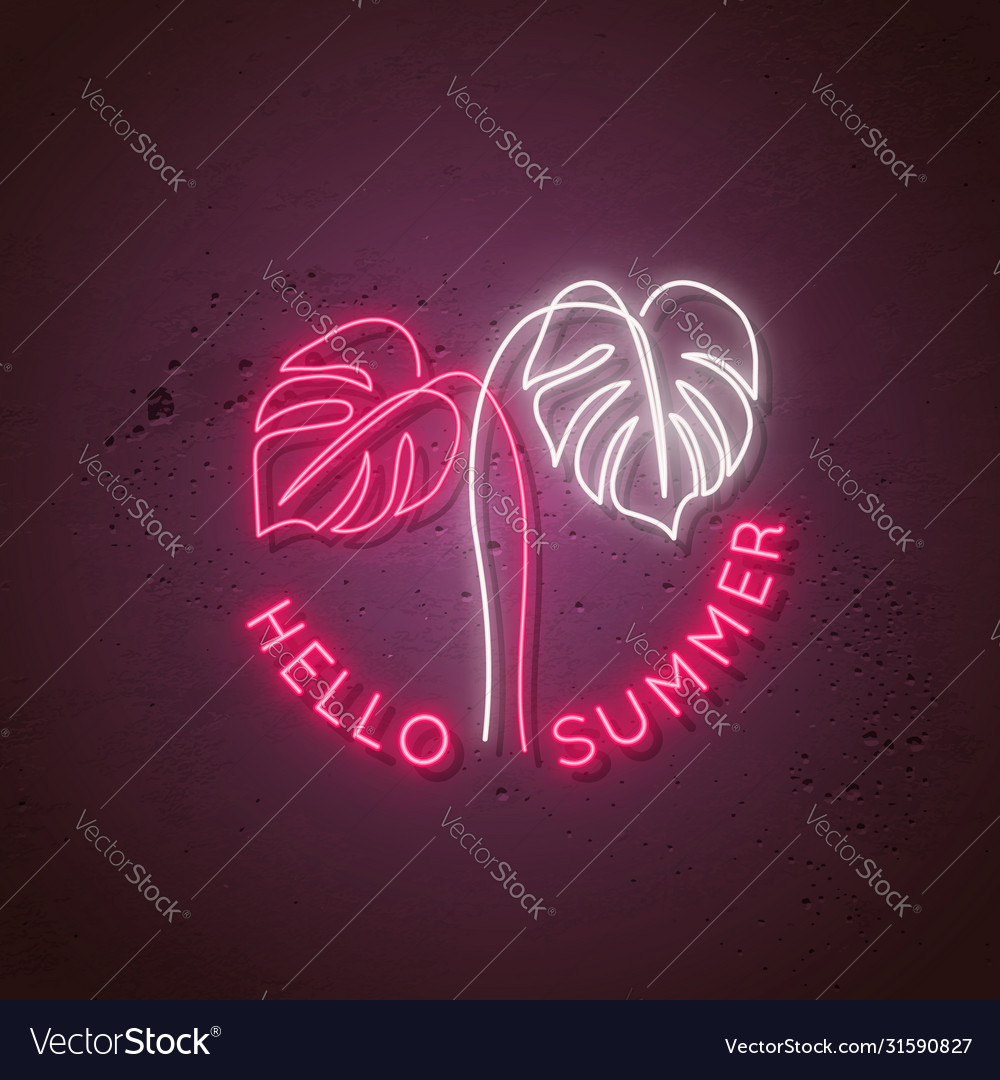 Neon signboard with monstera leaves and text