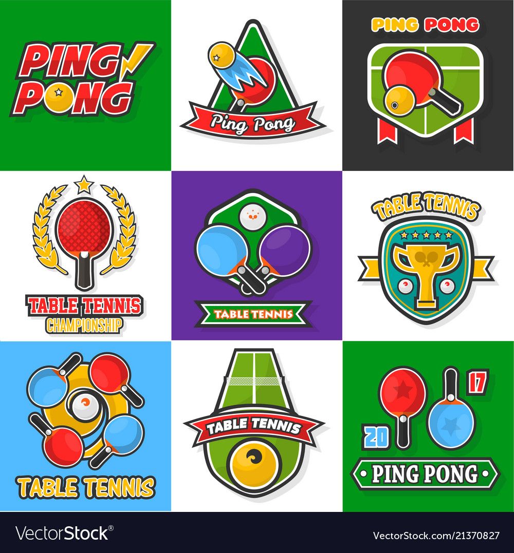 Ping pong or table tennis icons