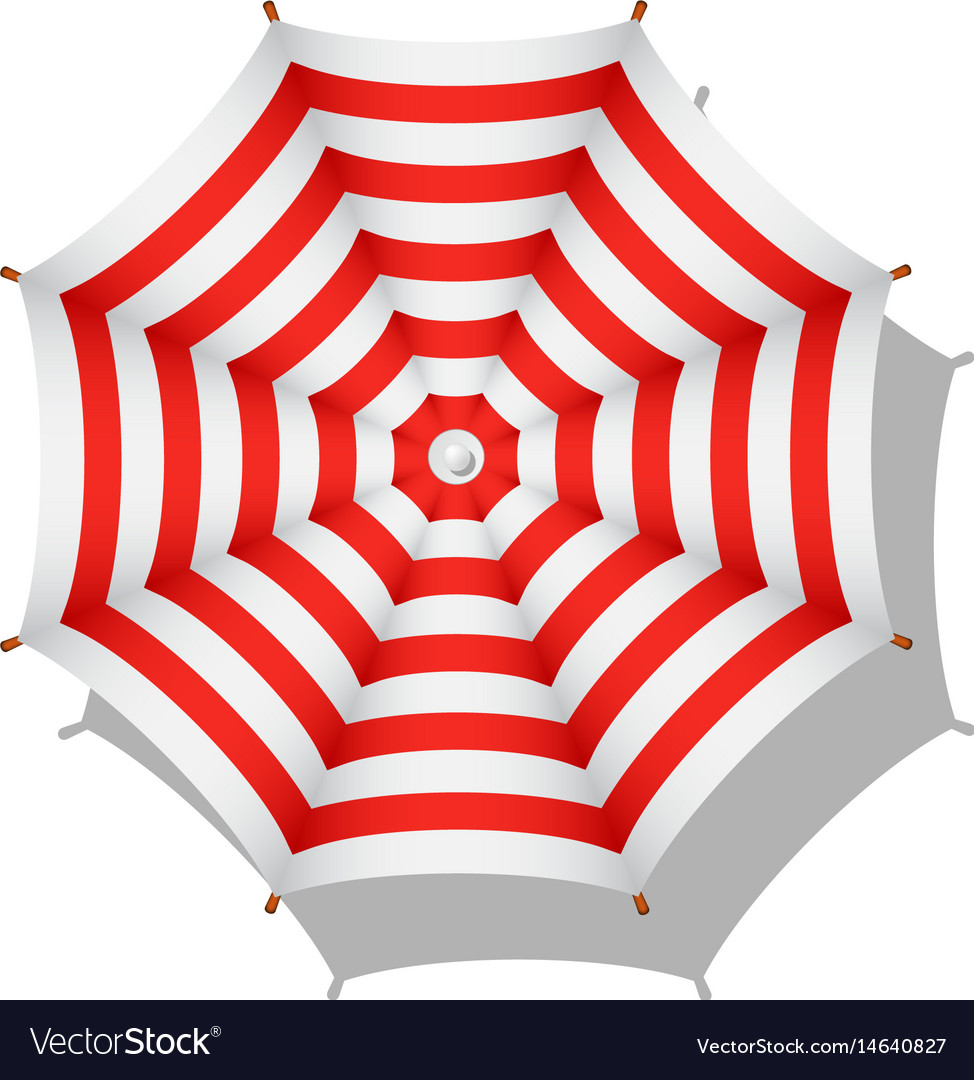 Red And White Striped Beach Umbrella