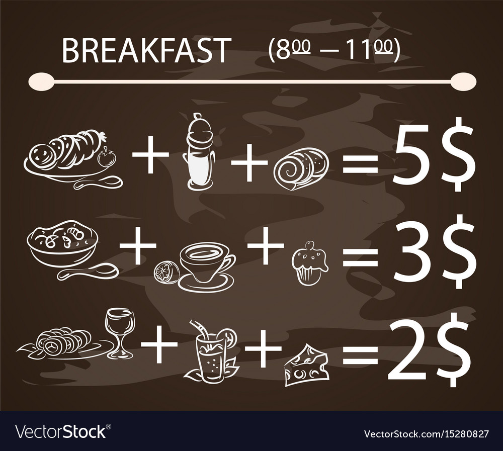 Template breakfast chalkboard menu vintage