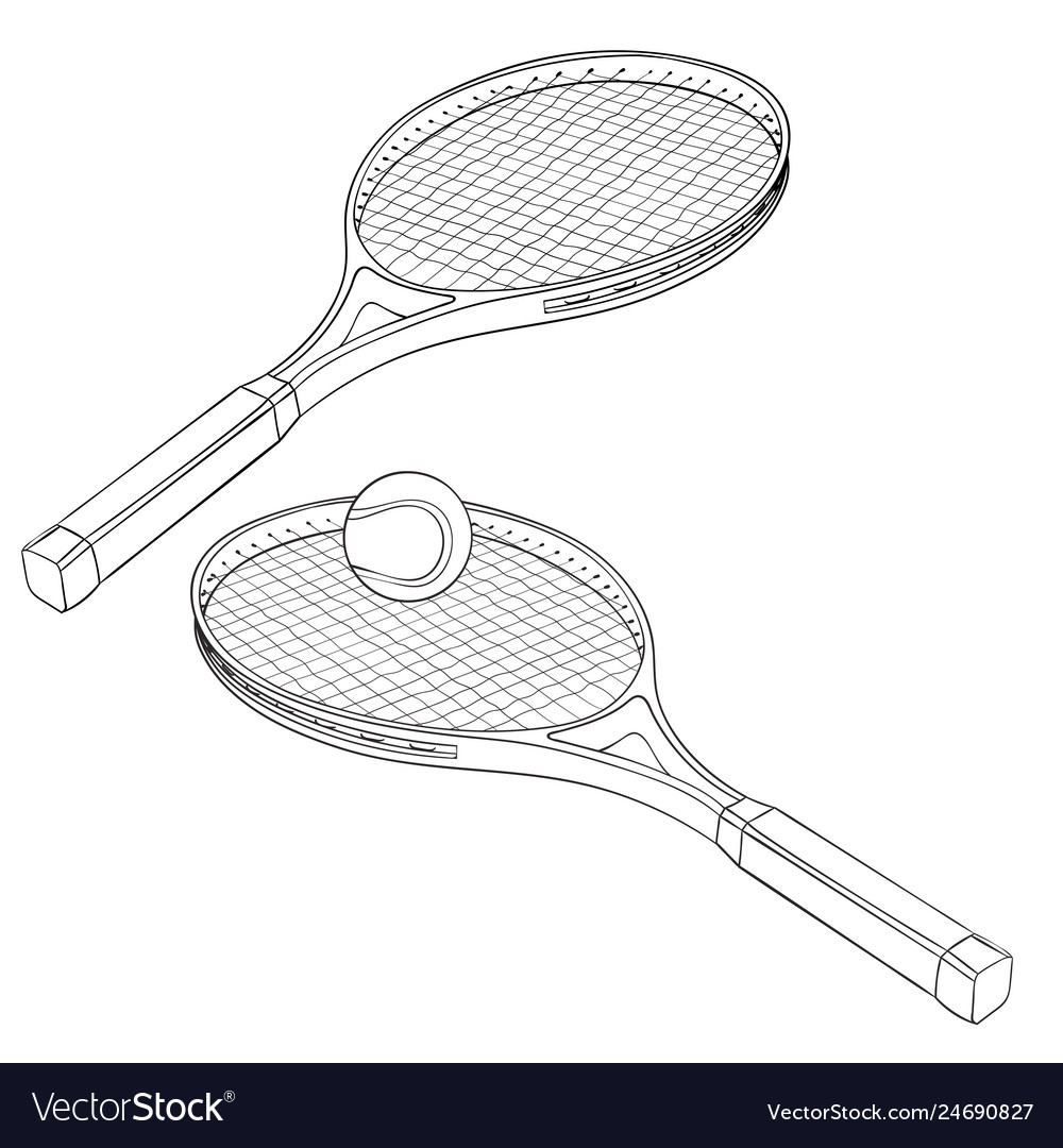 Tennis Rackets Hand Drawn Sketch Royalty Free Vector Image