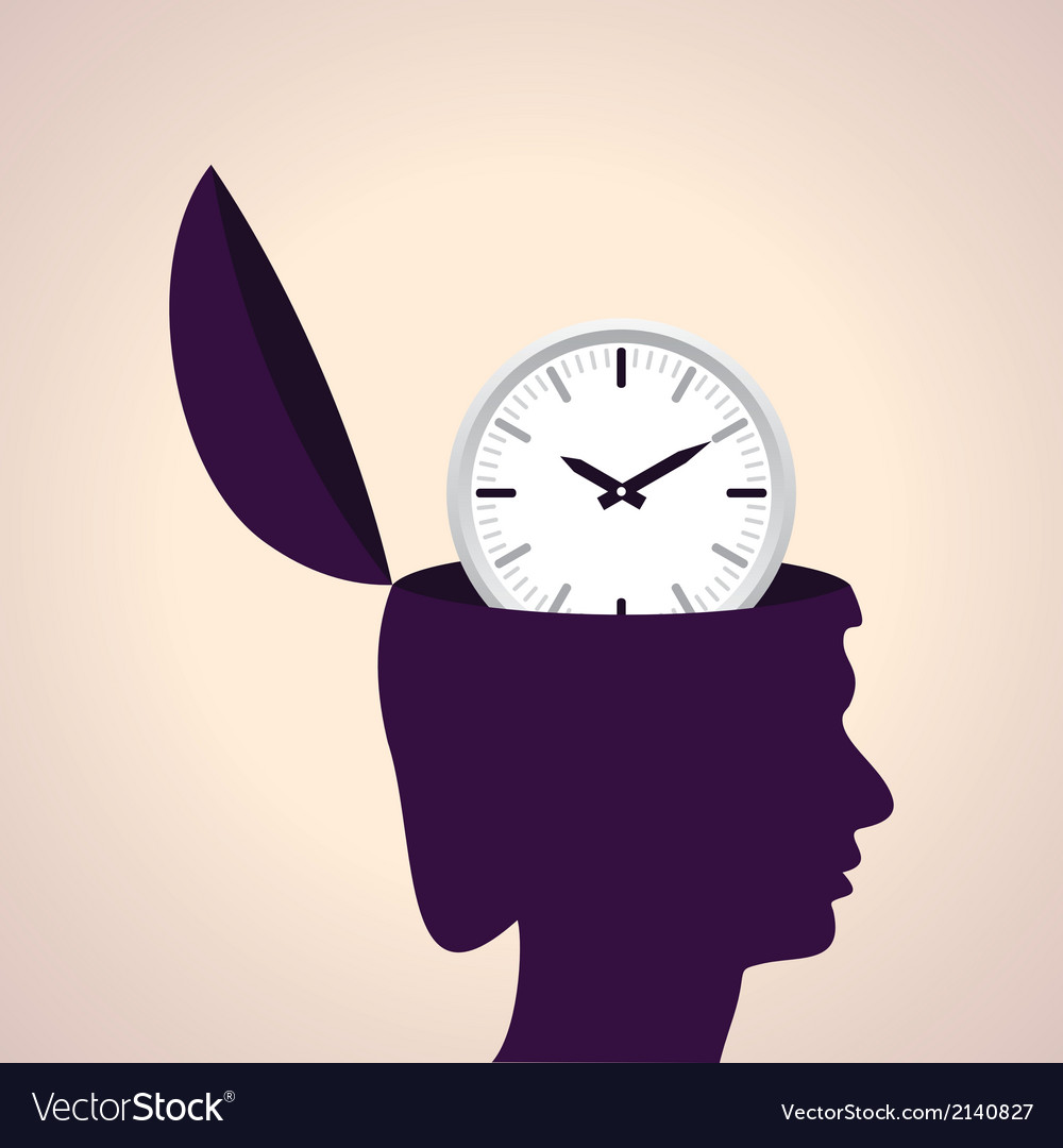 Thinking concept-Human head with clock icon