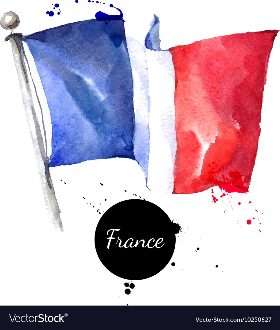 Watercolor France flag Hand drawn on white