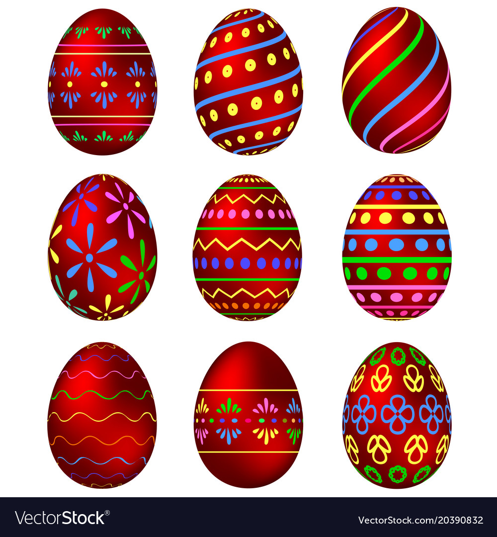 A set of red easter eggs with patterns