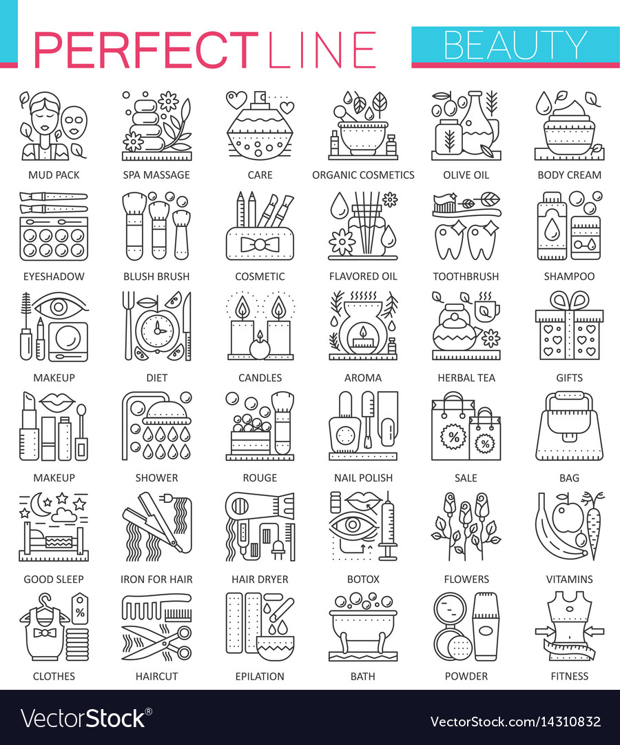 Beauty spa cosmetic concept symbols perfect thin