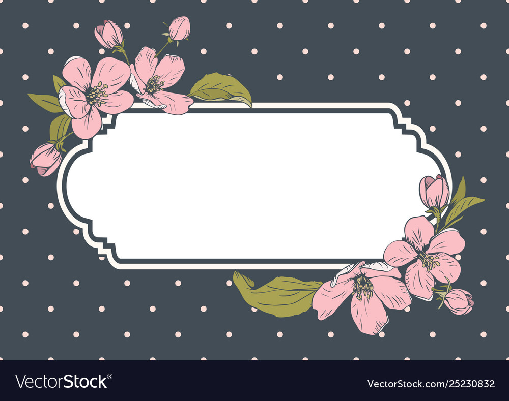 Card template with text floral frame on polka dot