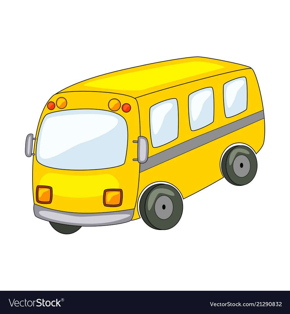 Cute cartoon bus isolated on