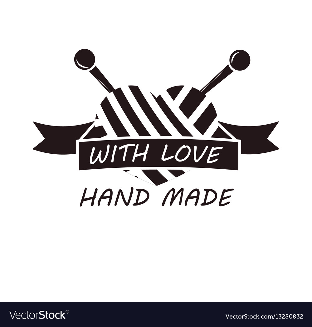Hand made with love logotype design of thread and