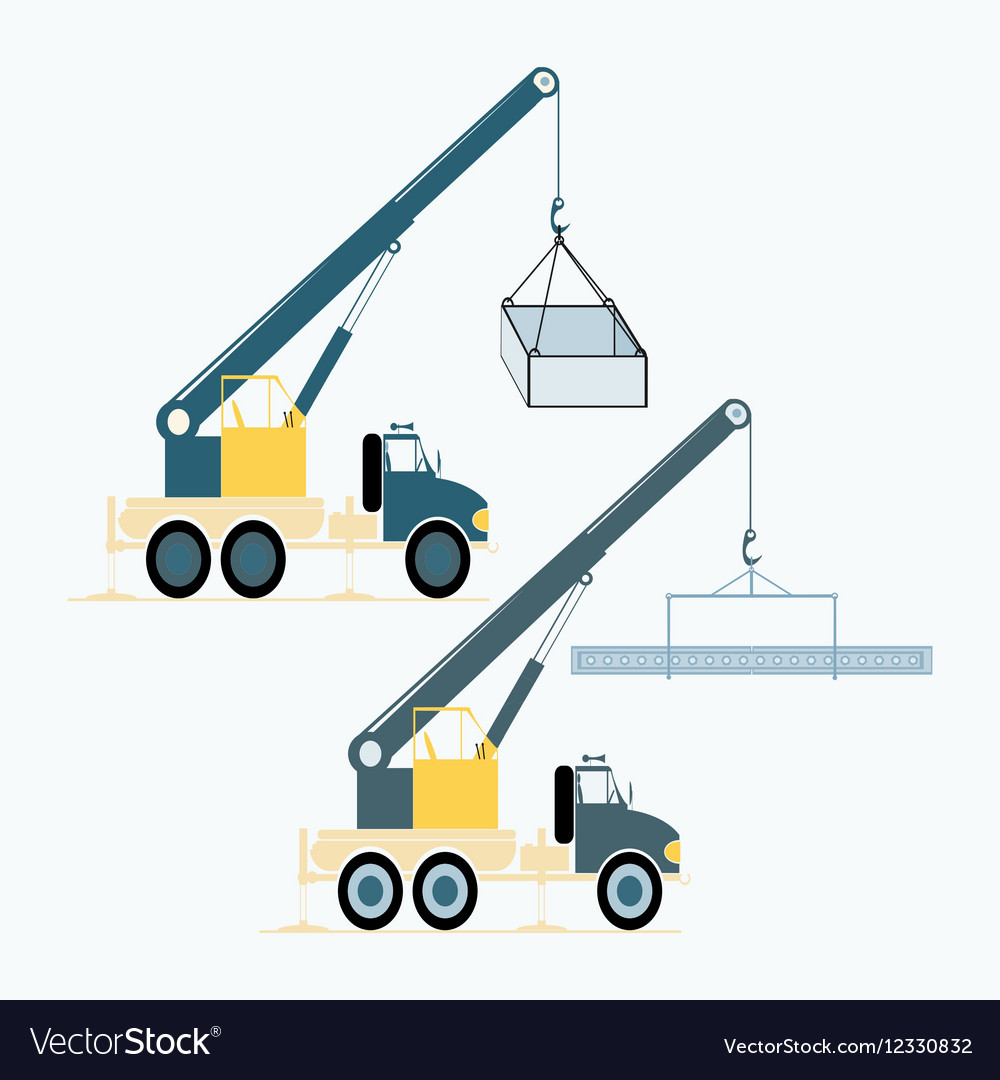 Monochrome icon set with loading crane