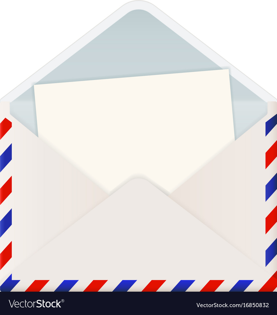 open international mail envelope with letter vector image