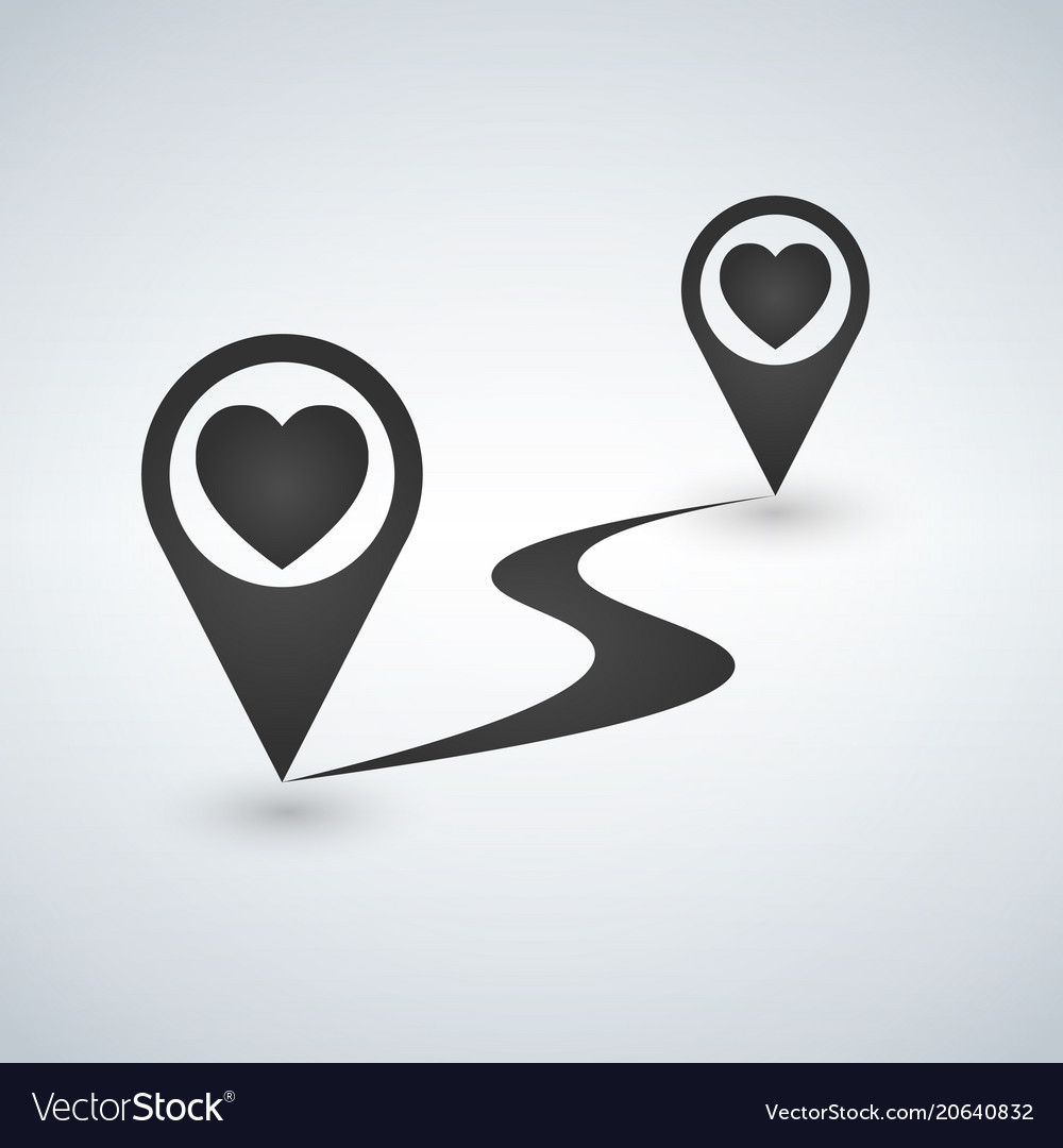 Pointer pin up icon with heart path valentine vector image