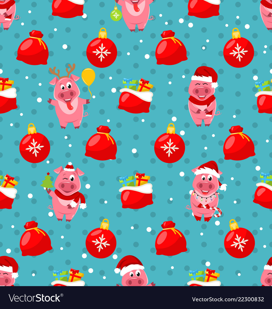 Seamless pattern with cartton pigs christmas bag