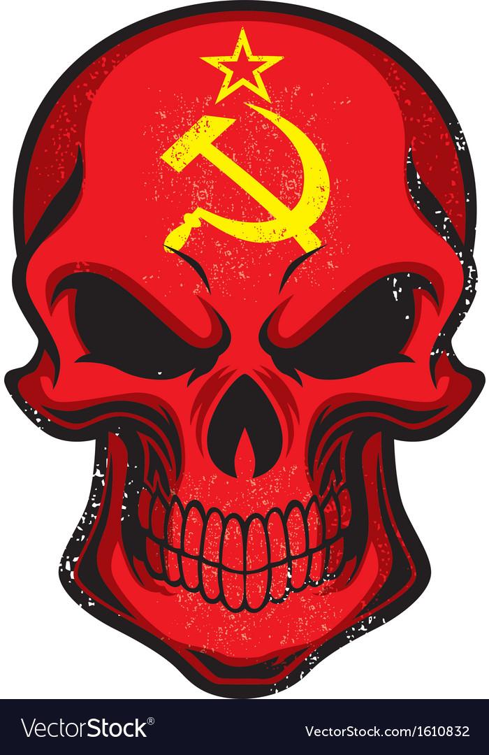 Uni Soviet flag painted on skull