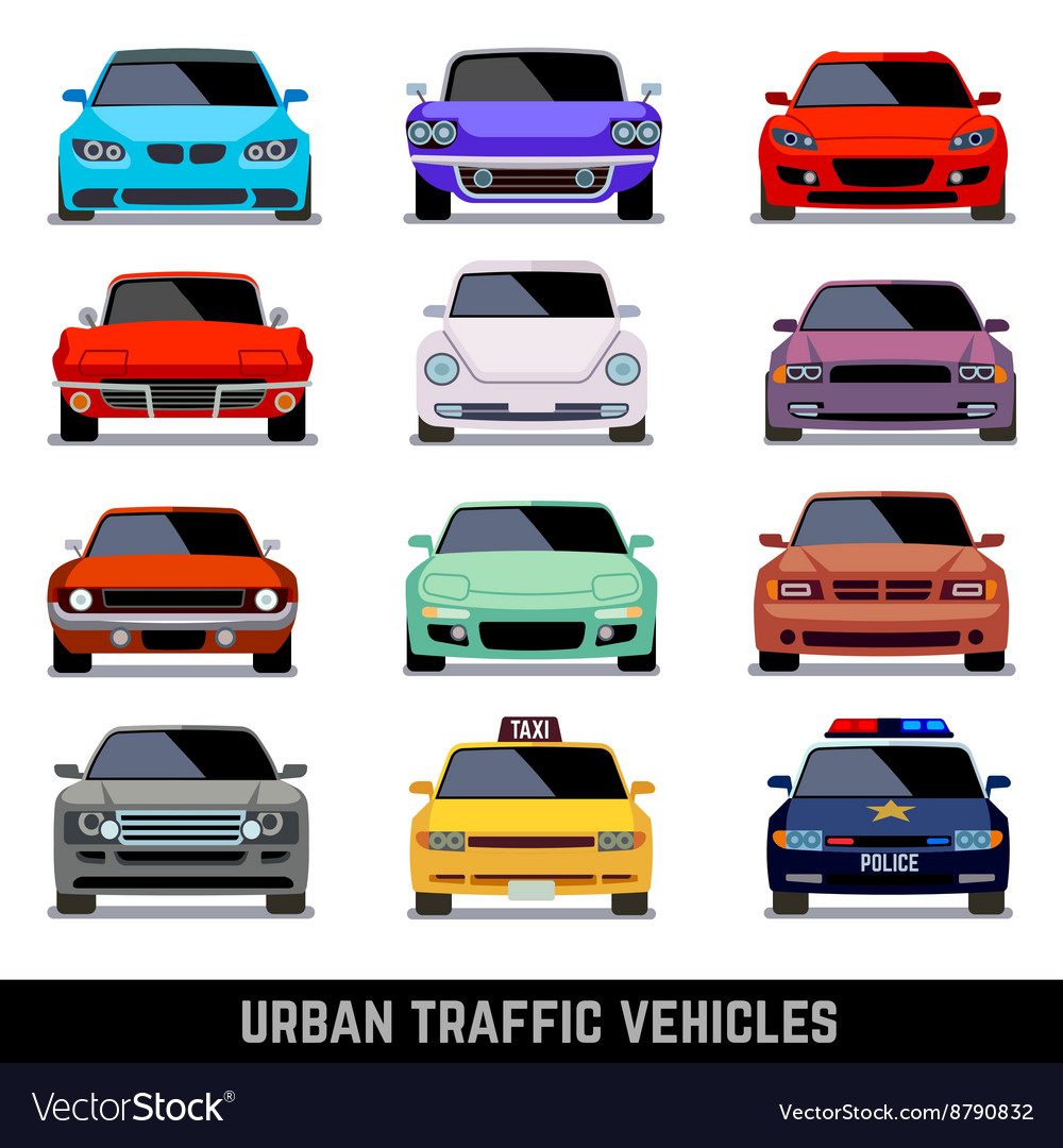 Urban traffic vehicles car icons in flat style