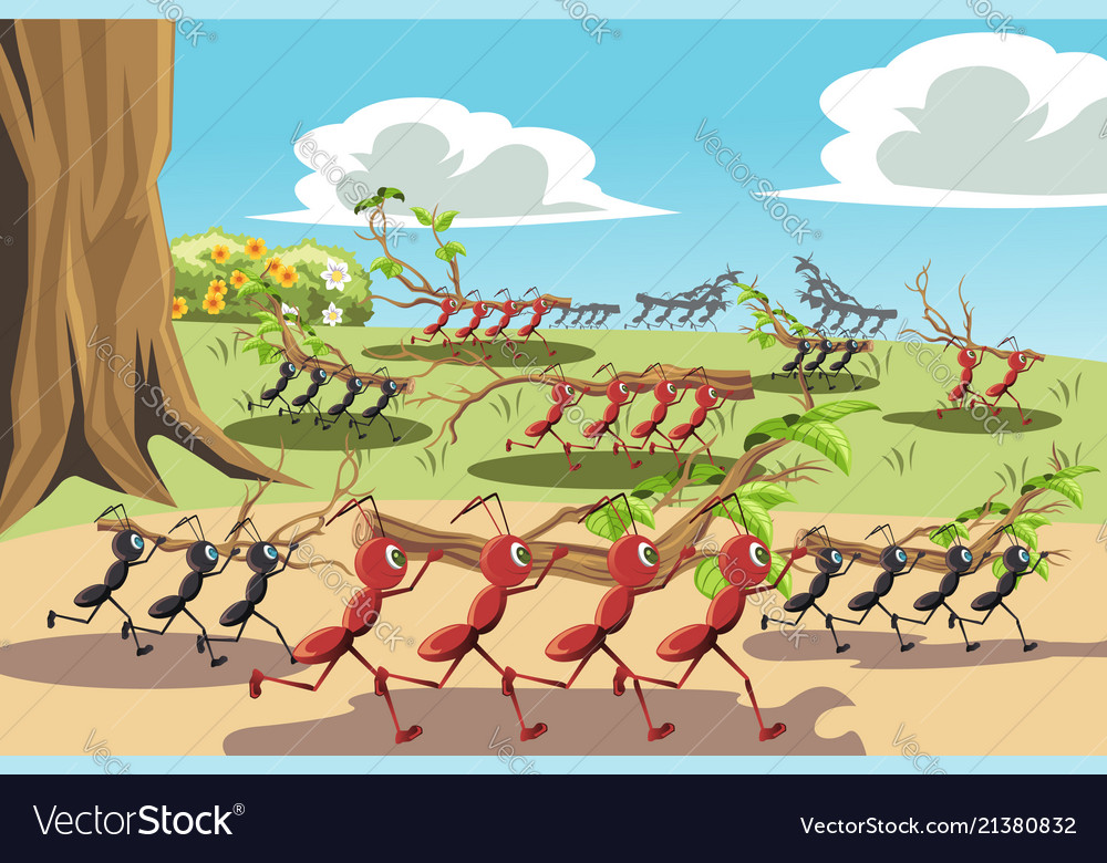 Working Ants Royalty Free Vector Image Vectorstock