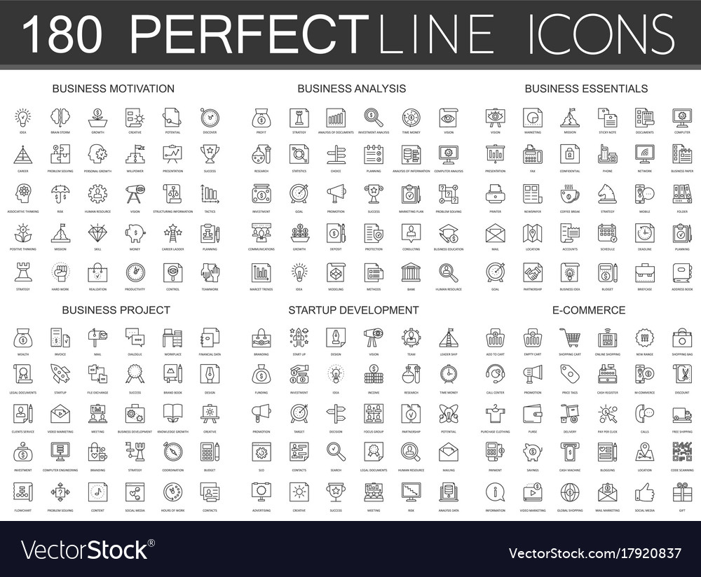 180 modern thin line icons set business