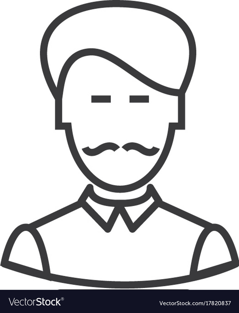 Businesman with moustache line icon sign