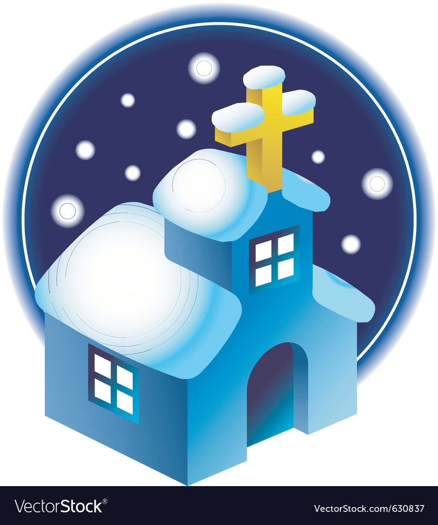Chapel in the snow vector image