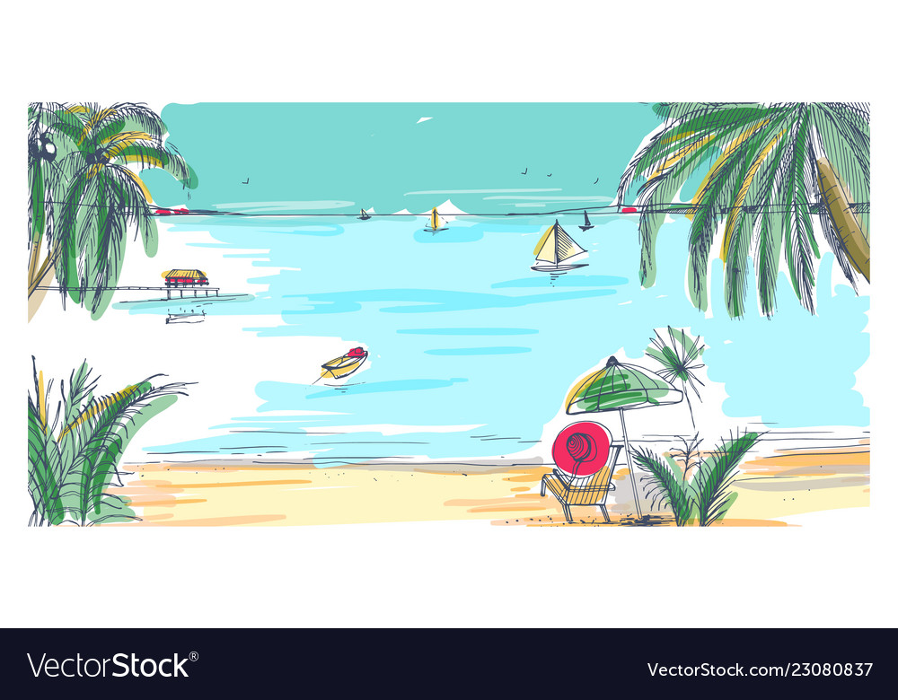 Hand drawn seaside landscape tropical resort with