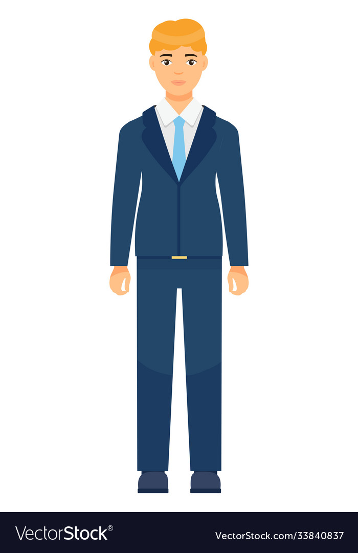 Isolated cartoon character office worker man