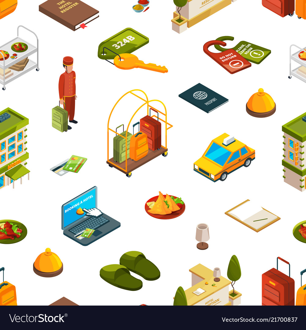 Isometric hotel icons pattern or background