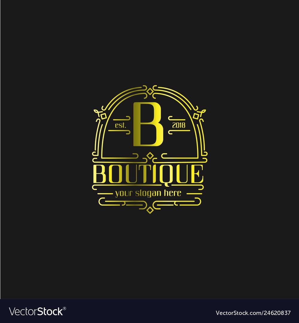 Letter b vintage old style logo