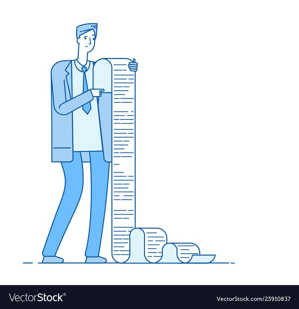 Man with long list businessman reading long list