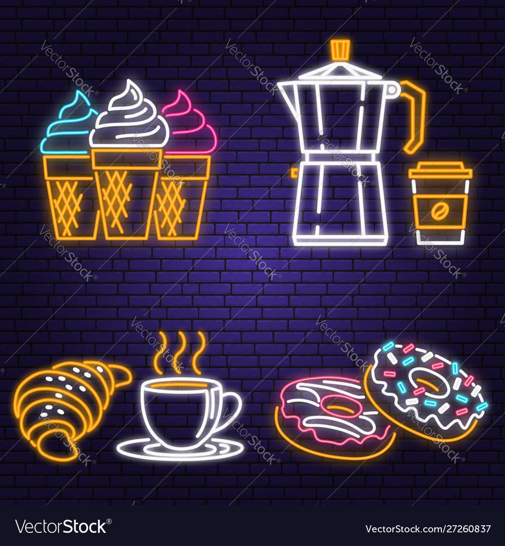 Neon ice cream donuts coffee and croissant retro