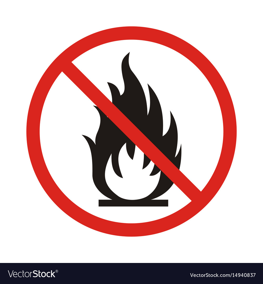 No fire sign prohibition open flame symbol red vector image