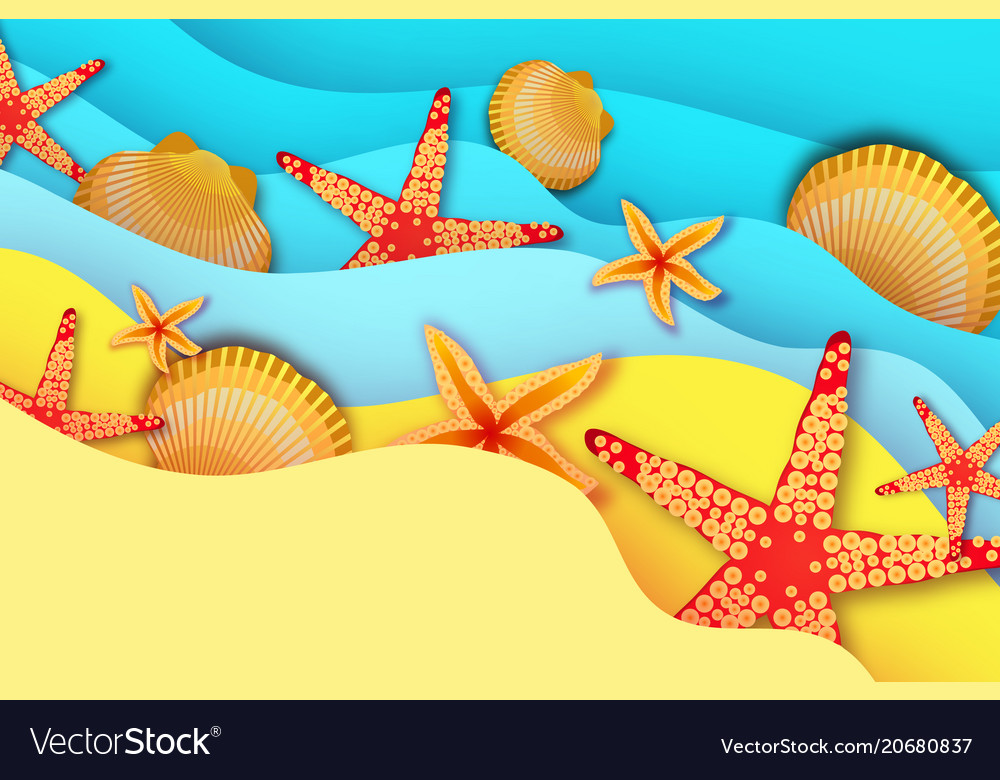 Origami Clam Mollusc Shells Summertime Beautiful Vector Image