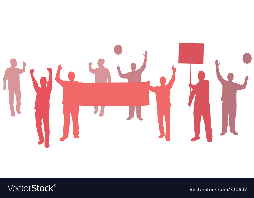 Protest with banners for your text