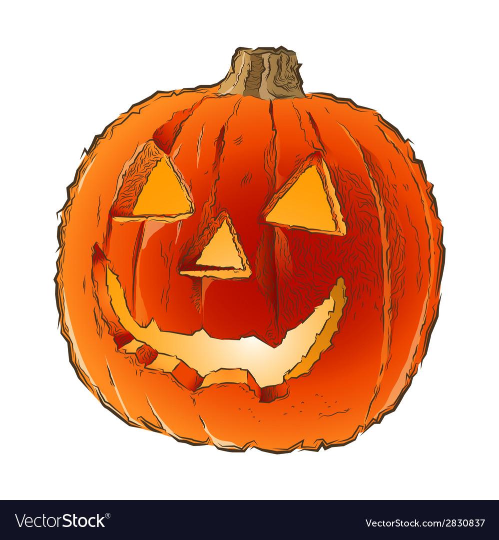 Scary Jack O Lantern Halloween Pumpkin Royalty Free Vector