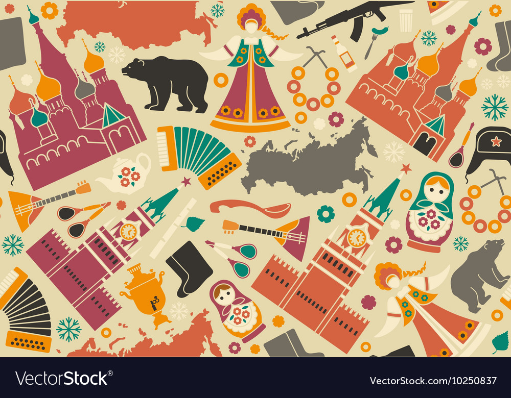 Seamless Background With Symbols Of Russia Vector Image