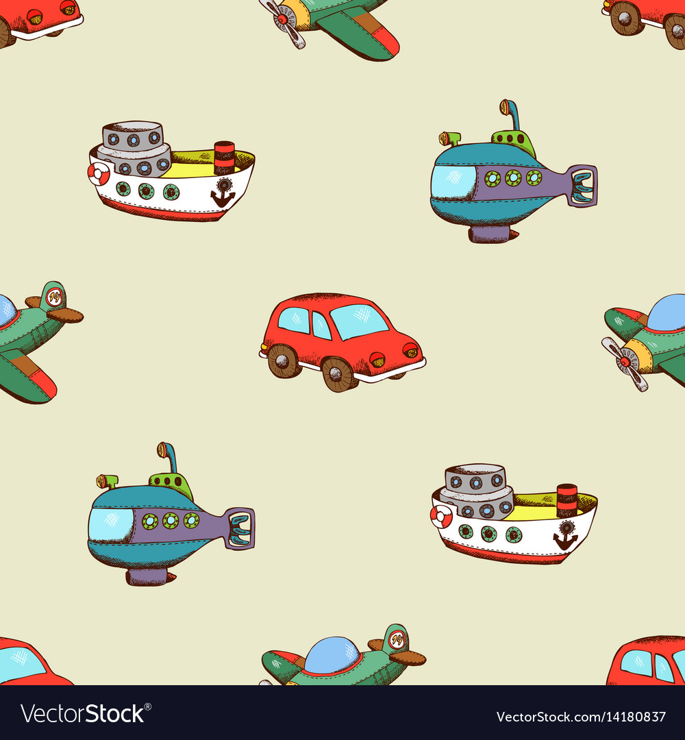Seamless pattern with ship car and plane