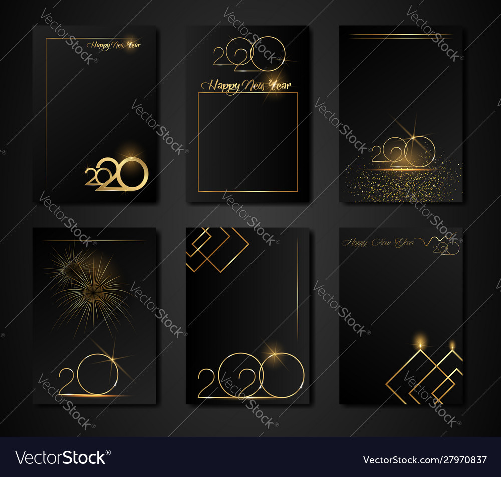 Set cards 2020 happy new year gold texture golden