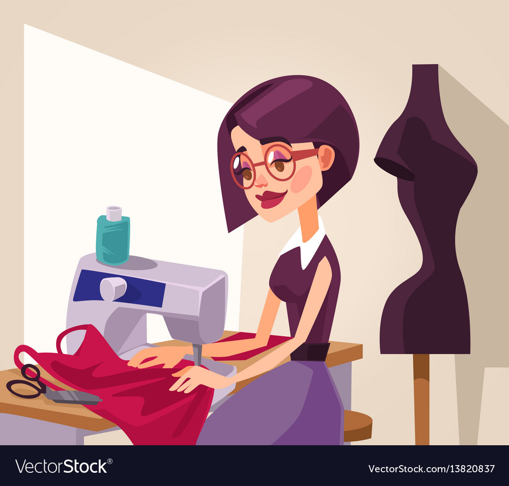 Smiling woman designer character sews clothes