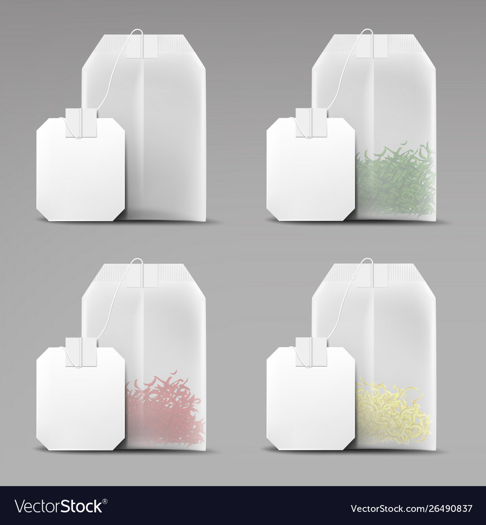 Tea bags set isolated on grey background teabags