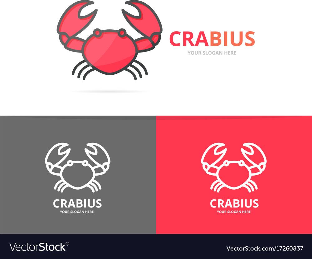 Unique seafood and crab logo design template