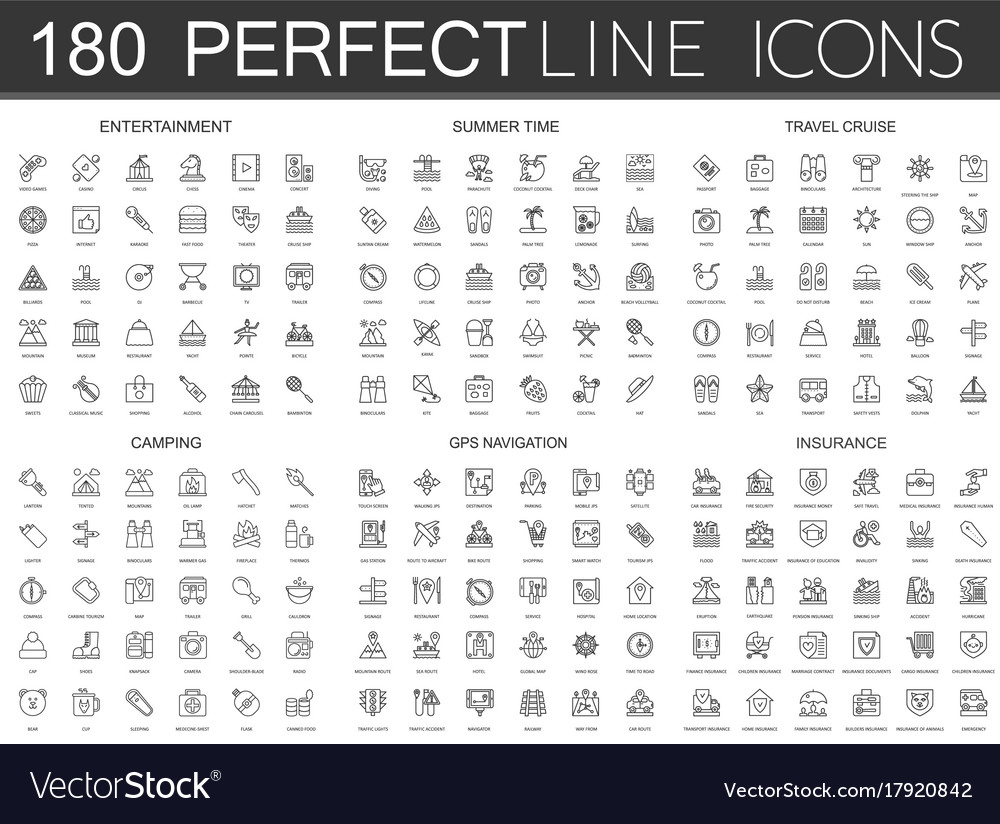 180 modern thin line icons set of entertainment