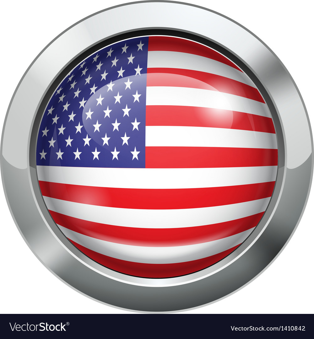America flag metal button