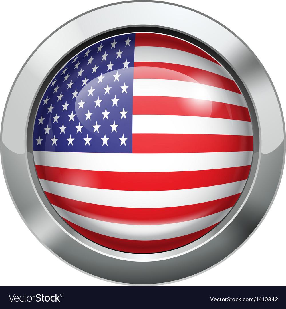 America flag metal button vector image