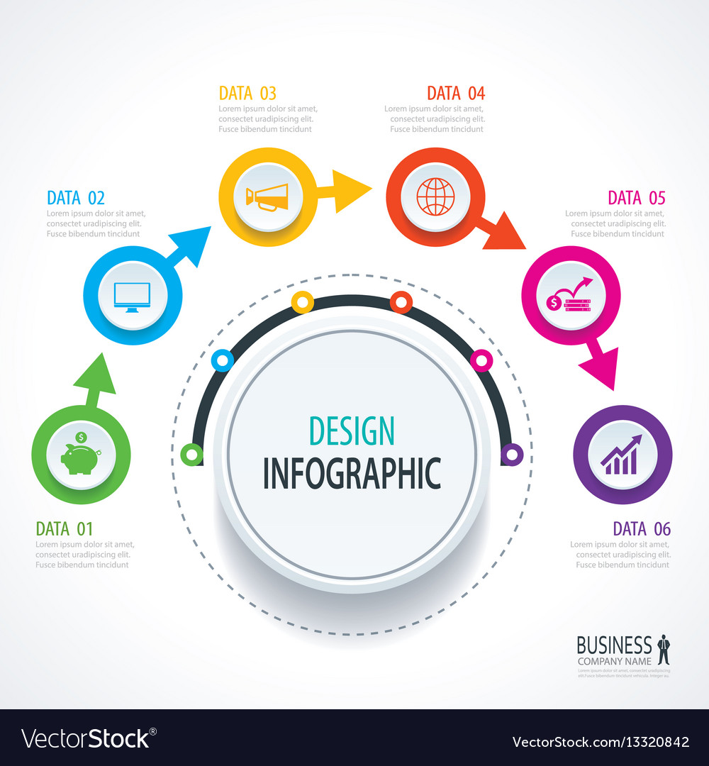 business timeline infographics with 6 circles vector image